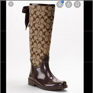 Coach Dark Brown Rain boots